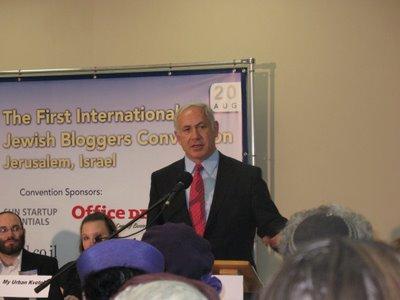 Israeli Prime Minister Benjamin Netanyahu speaks at WebAds' JBloggers conference.